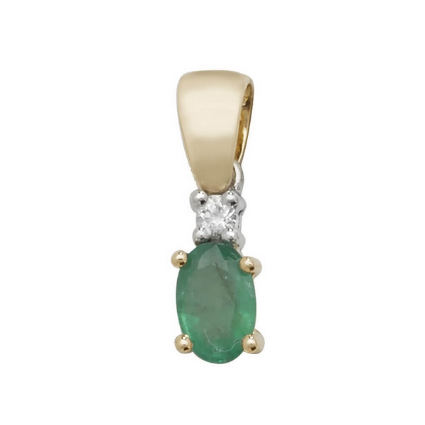 Oval Shaped  Emerald and Diamond Pendant in 9ct Yellow Gold