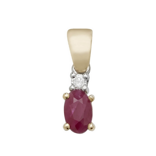 Oval Shaped Ruby and Diamond Pendant in 9ct Yellow Gold
