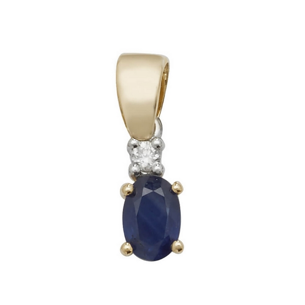 Oval Shaped Sapphire and Diamond Pendant in 9ct Yellow Gold