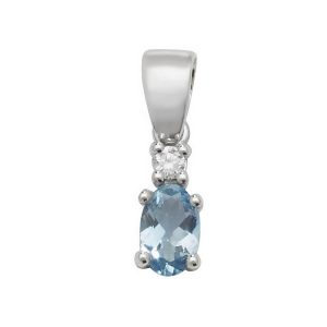 Pear Shaped Single Aquamarine and Diamond Pendant in 9ct White Gold