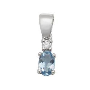 Pear Shaped Single Aquamarine and Diamond Pendant in 9ct White Gold