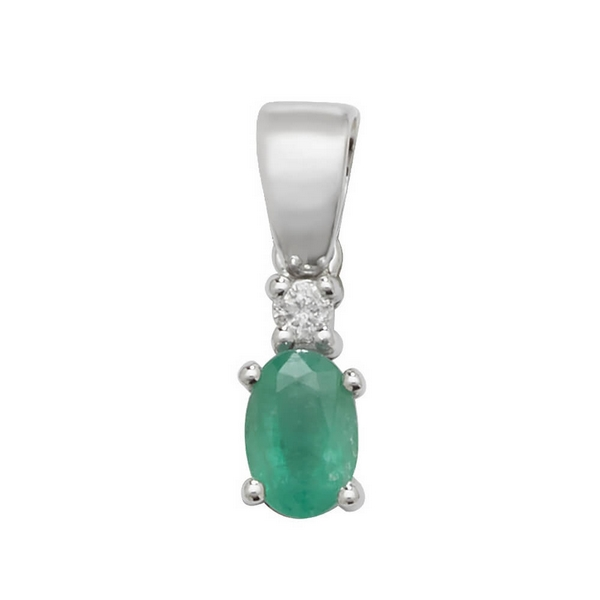 Pear Shaped Single Emerald and Diamond Pendant in 9ct White Gold