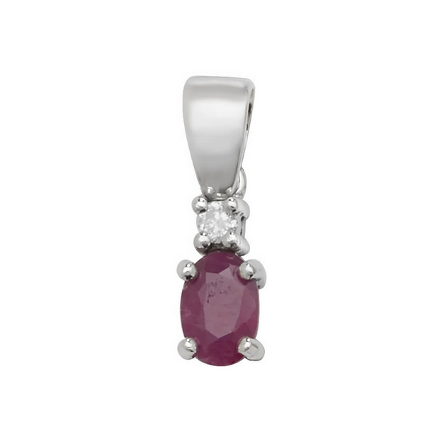 Pear Shaped Single Ruby and Diamond Pendant in 9ct White Gold