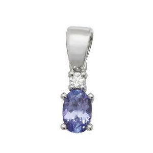 Pear Shaped Single Tanzanite and Diamond Pendant in 9ct White Gold