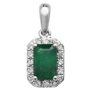 Emerald and Diamond Octogon Shaped Pendant in 9ct White Gold