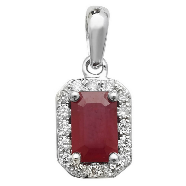 Ruby and Diamond Octogon Shaped Pendant in 9ct White Gold