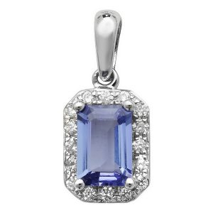 Tanzanite and Diamond Octogon Shaped Pendant in 9ct White Gold
