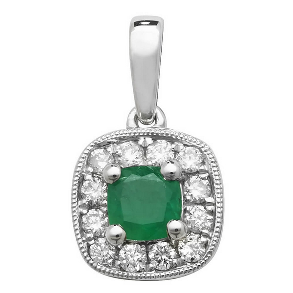 Emerald and Diamond Cushion Shaped Pendant in 9ct White Gold