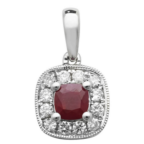 Ruby and Diamond Cushion Shaped Pendant in 9ct White Gold