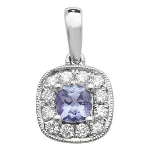 Tanzanite and Diamond Cushion Shaped Pendant in 9ct White Gold