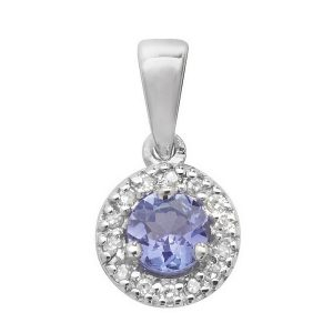 Diamond and Tanzanite Round Shaped Pendant in 9ct White Gold