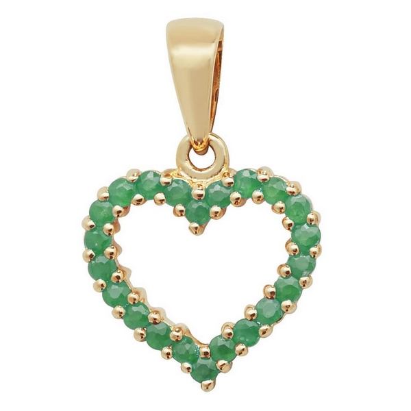 Emerald Open Heart Pendant in 9ct Yellow Gold