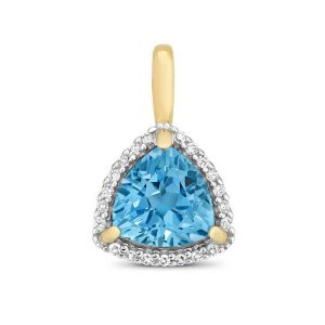 Trillion Fancy Cut Blue Topaz and Round Diamond Pendant in 9ct Yellow Gold
