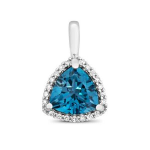 Trillion Fancy Cut Swiss Blue Topaz and Round Diamond Pendant in 9ct White Gold