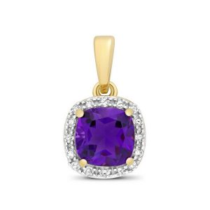 Cushion Fancy Cut Amethyst and Round Diamond Pendant in 9ct Yellow Gold