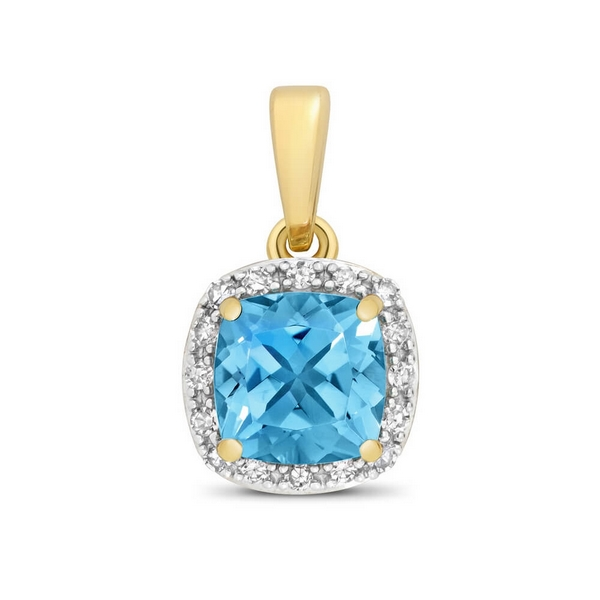 Cushion Fancy Cut Blue Topaz and Round Diamond Pendant in 9ct Yellow Gold