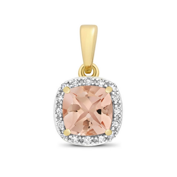 Cushion Fancy Cut Morganite and Round Diamond Pendant in 9ct Yellow Gold