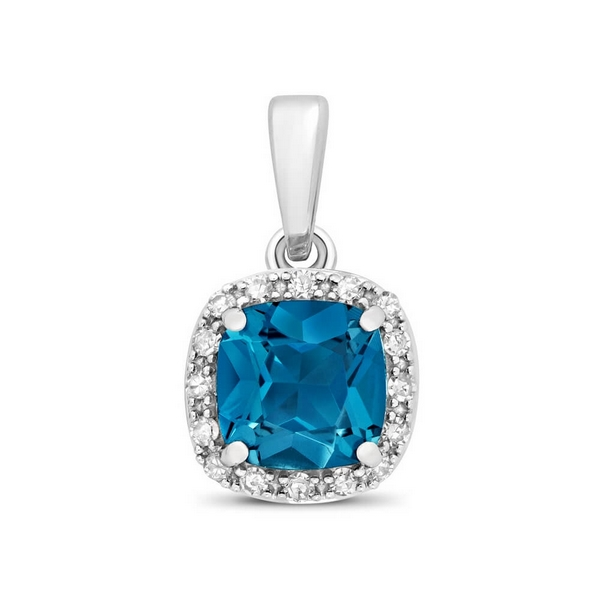 Cushion Fancy Cut London Blue Topaz and Round Diamond Pendant in 9ct White Gold