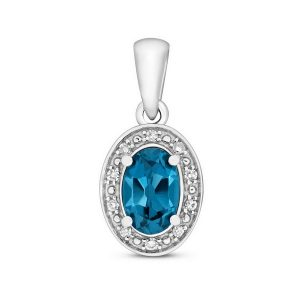 Oval Fancy Cut London Blue Topaz and Diamond Pendant in 9ct White Gold