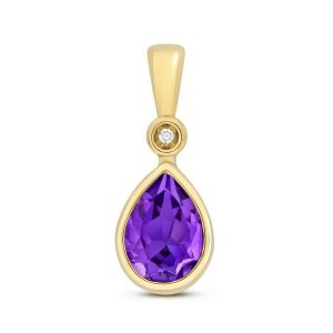 Pear Shaped Bezel Set Amethyst and Diamond Pendant in 9ct Yellow Gold