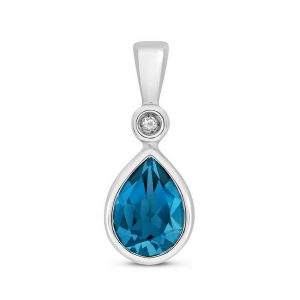 Pear Shaped Bezel Set London Blue Topaz and Diamond Pendant in 9ct White Gold