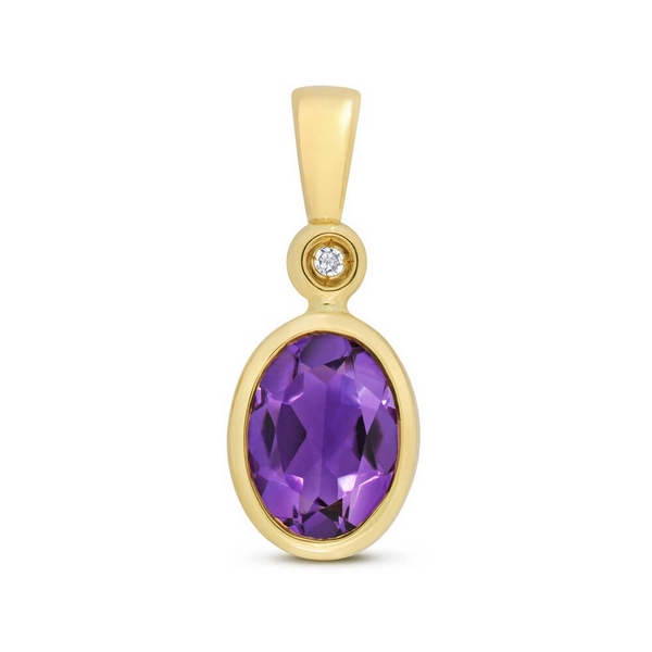 Oval Shaped Bezel Set Amethyst and Diamond Pendant in 9ct Yellow Gold