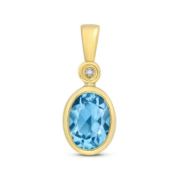 Oval Shaped Bezel Set Blue Topaz or Morganite and Diamond Pendant in 9ct Yellow Gold