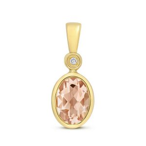 Oval Shaped Bezel Set Morganite and Diamond Pendant in 9ct Yellow Gold
