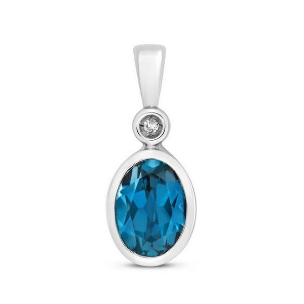 Oval Shaped Bezel Set London Blue Topaz and Diamond Pendant in 9ct White Gold