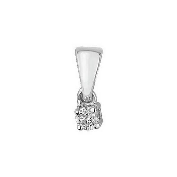 Claw Set Solitaire Diamond Pendant in 9ct White Gold (0.05ct)