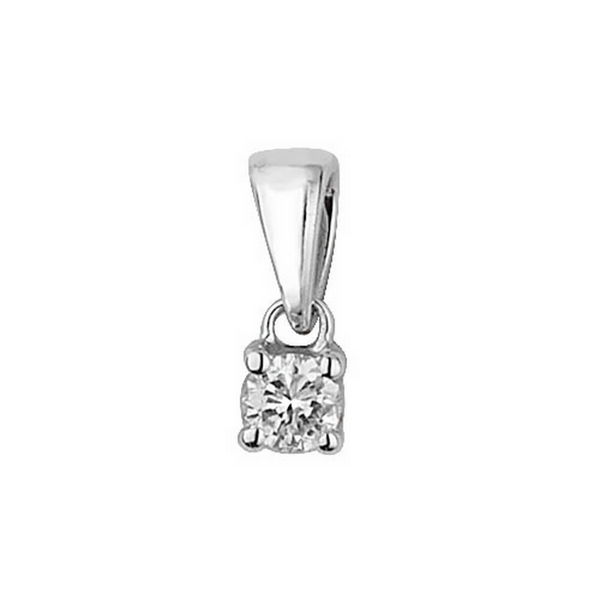 Claw Set Solitaire Diamond Pendant in 9ct White Gold (0.10ct)