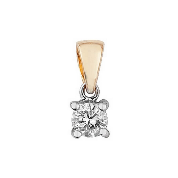 Claw Set Solitaire Diamond Pendant in 9ct Yellow Gold (0.15ct)