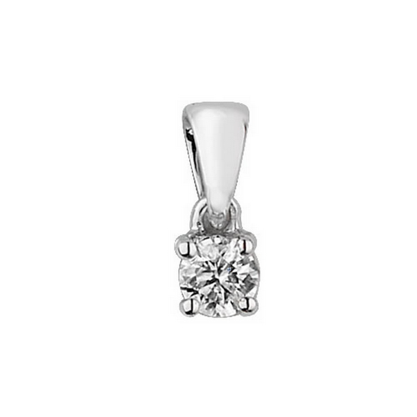 Claw Set Solitaire Diamond Pendant in 9ct White Gold (0.15ct)