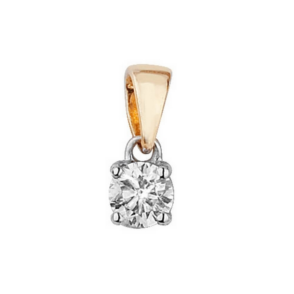 Claw Set Solitaire Diamond Pendant in 9ct Yellow Gold (0.25ct)