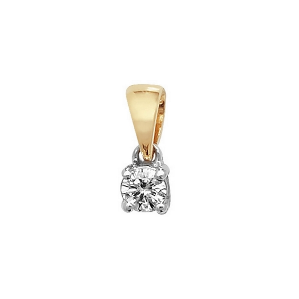 Claw Set Solitaire Diamond Pendant in 18ct Yellow Gold (0.13ct)