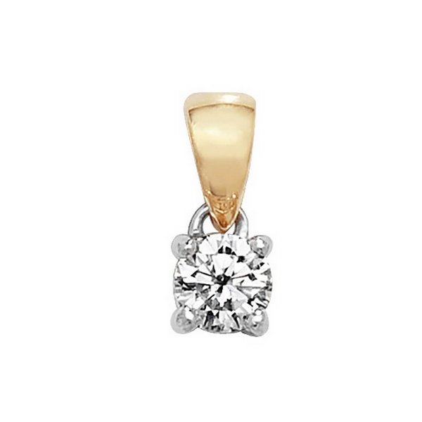 Claw Set Solitaire Diamond Pendant in 18ct Yellow Gold (0.20ct)