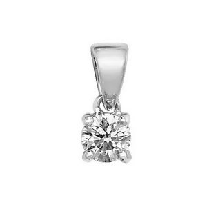 Claw Set Solitaire Diamond Pendant in 18ct White Gold (0.20ct)