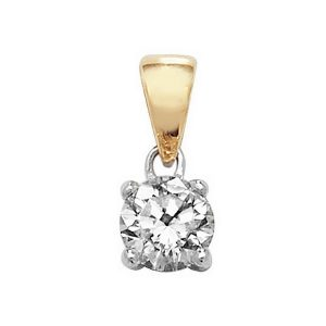 Claw Set Solitaire Diamond Pendant in 18ct Yellow Gold (0.30ct)