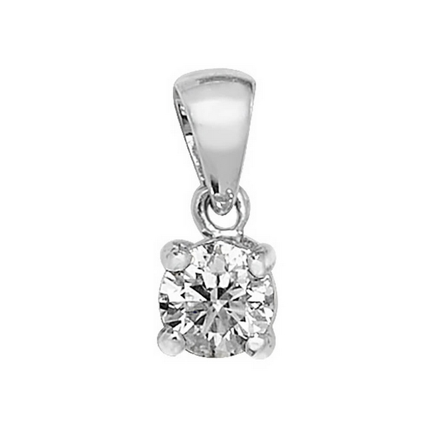 Claw Set Solitaire Diamond Pendant in 18ct White Gold (0.30ct)