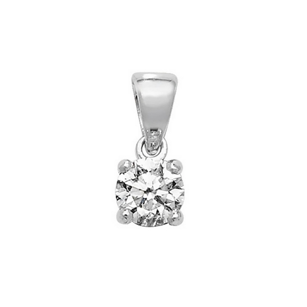 Claw Set Solitaire Diamond Pendant in 18ct White Gold (0.40ct)