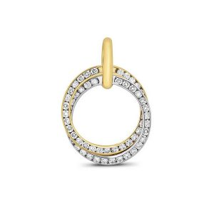 Circle Shaped Two Tone Diamond Pendant in 18ct White and Yellow Gold (0.54ct)