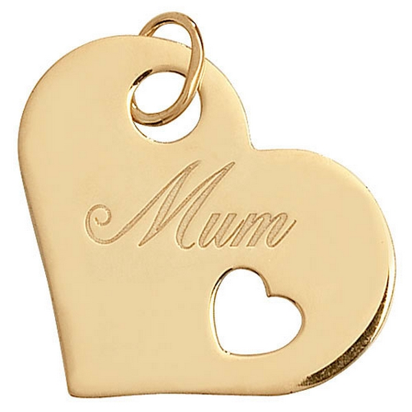 Heart Shaped MUM Pendant in Yellow Gold