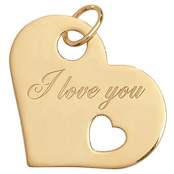 Heart Shaped I LOVE YOU Pendant in Yellow Gold