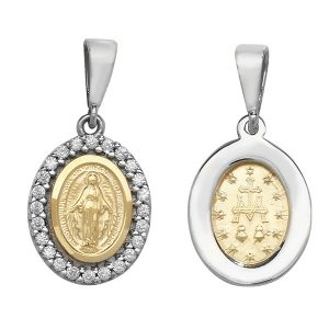 Oval Madonna Pendant with Cubic Zirconia Set Surround in Yellow Gold