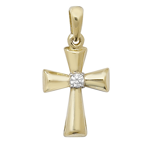 Cross with centre set single Cubic Zirconia in Yellow Gold
