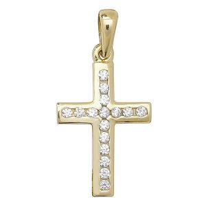 Cross inlaid with Cubic Zirconia in Yellow Gold