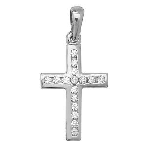 Cross inlaid with Cubic Zirconia in White Gold