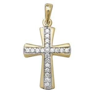 Shaped Cross inlaid with Cubic Zirconia in Yellow Gold
