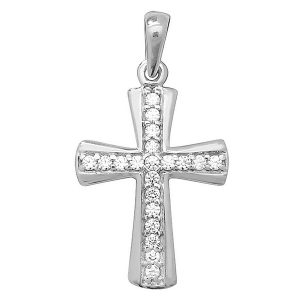 Shaped Cross inlaid with Cubic Zirconia in White Gold