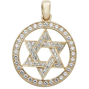 Round Pendant with Star of David Design Set wit Cubic Zirconia in 9ct Yellow Gold